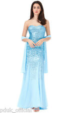 "Luxurious ""Azalea"" Blue Classic 30s Bandeau Sequin Chiffon Maxi Dress with Scarf"