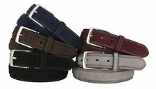 "Suede Genuine Leather Casual Jean Belt 1-3/8"" Wide Stitched Edge Nickle Buckle"