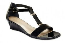 NEW Easy Steps Cabana Black Patent Leather Sandals Women Shoes Wide Fit C-Fit