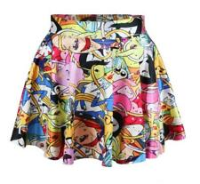 New Women Fashion Cute cartoon Prints Skater Pleated Bubble short Skirt Dress