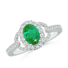 Vintage Inspired Oval Emerald Halo Ring with Diamond Accents 14k White Gold
