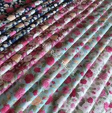 Vintage Rose Fabric 100% Cotton Material Craft Bundle Pink, Navy, Green