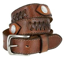 """Western Vintage Hand Laced Genuine Leather Belt Indian Conchos 1-1/2"""" Wide Brown"""