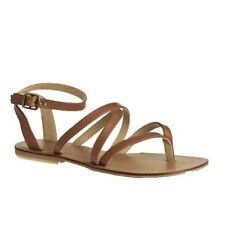 Womens Girls Swell Brown Leather Gladiator Sandals Casual Flat Beach Shoes 3-6