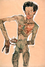 Nude Self Portrait Grimacing by Egon Schiele Art Print