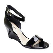 NEW SANDLER ALLIE BLACK PATENT LEATHER WEDGE HEELS WOMENS SHOES