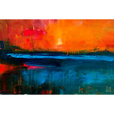 Framed Canvas Fine Art Print Abstract Painting Sunset Landscape