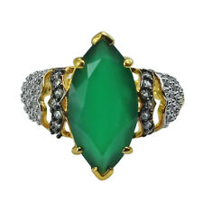 Green Onyx,Natural Zircon 925 Sterling Silver Right Hand 6.01 ctw Ring GSR620