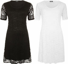 New Womens Plus Floral Lace Crochet Round Neck Short Sleeve Ladies Swing Dress