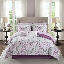 Beautiful Purple Grey Floral Comforter Sheets 9 pcs Cal King Queen Bedding Set