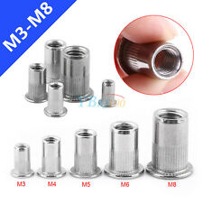 20pcs M3 M4 M5 M6 M8 SS304 Flat Head Blind Rivets Nuts Threaded Nutserts Rivnuts