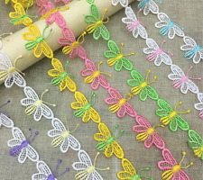 2 Yards Butterfly flowers embroidery Lace Trim Wedding dress clothing accesories