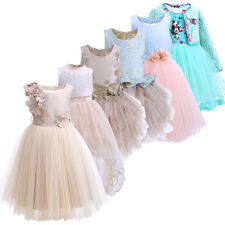 Flower Girl Lace Tulle Tutu Wedding Bridesmaid Pageant Communion Easter Dress