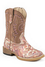Roper Glitter Paisley Infant Brown Faux Leather Girls Cowboy Boots
