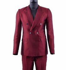 DOLCE & GABBANA Double-Breasted Summer Silk Suit Blazer Jacket Pants Red 05264