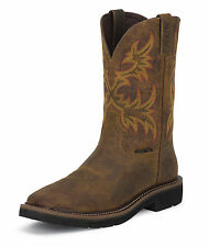 Justin Mens Tan Rugged Leather Work Boots 11in Stampede Steel Toe