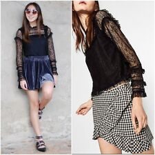 ZARA BLACK  FRILLED LACE TOP WITH LONG SLEEVES SIZE S