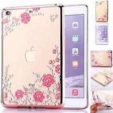 Fashion  Crystal Flower Soft Silicone Case Clear Cover For iPad Mini 2 3 4 Air