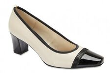 NEW Easy Steps Network Black/Ivory Leather Court Heels Shoes Comfort Fit C-Fit