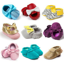 Baby Infant Boys Girls Soft Sole Toddler Leather Fringe Moccasin Shoes 0-18M
