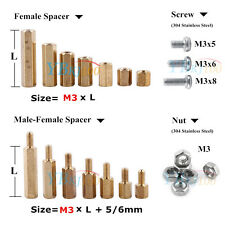 100pcs M3 Male Female Hex Brass Spacer Standoffs Hexagon Nuts Pan Head Screws