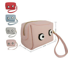 Faux Leather Pink Grey Blue Cute Eyes Face Make Up Zip Travel Purse Pouch Bag