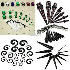 Taper PLUG Kit 2.4mm-10mm Gauges Expander Set Stretchers 23pcs Ear Black White