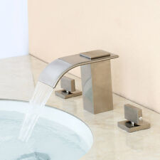 Bathroom Brushed Nickel ORB Widespread 3 Holes Square Waterfall Sink Faucet Tap