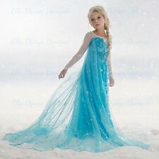 Girls Disney Elsa Frozen dress costume Princess Anna party dresses cosplay gifts