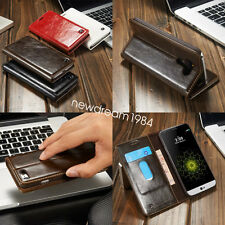 Premium Genuine Real Leather Flip Stand Wallet For Smart Cell Phone Case Cover