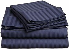 1200 Thread Count Egyptian Cotton 3 PC's Duvet Set Navy Blue Stripe