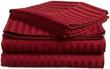 1200 Thread Count Egyptian Cotton 5 PC's Duvet Cover Set Burgundy Stripe