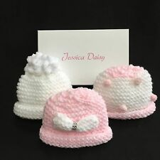 Baby Girl hat set, in pink and white, Newborn, 0-3m, 3-6m, New, boxed, by Jessic