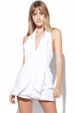New C/MEO COLLECTIVE Womens Conquer Shirting Playsuit White