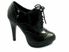 Womens Stiletto High Heels Lace Up Ankle Boots Shoes Black Size