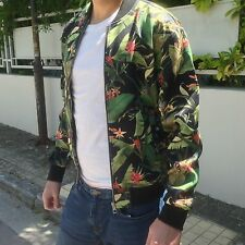 ZARA Man BNWT Authentic Black Bomber Jacket Green Leaves Sold Out S M L 1608/409