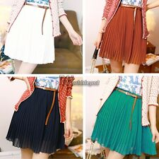 New Fashion Sexy Women Girls Retro Pleated Mini Skirts Chiffon Waist Short WT882