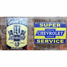 Chevy Chevrolet Car Genuine Parts Service Metal Tin Sign Deco Garage Man Cave Ad