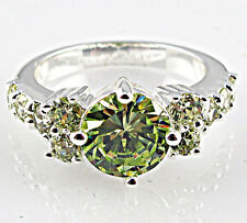 Gorgeous Woman Round Cut 2.25ct Peridot 925 Silver Wedding Ring Size 6-10