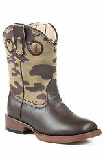 Roper Boots Infant Brown Faux Leather Boys Camo Cowboy