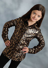Roper Girls Brown Polyester Leopard Rodeo L/S Western Shirt