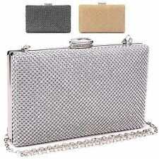 Ladies Designer Diamante Box Clutch Bag Evening Cocktail Handbag Purse M2056