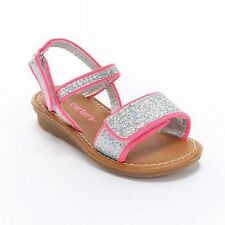 NWT Carters Toddler Girls 9 10 Sparkly Pink Silver Glitter Sandals Sandal Shoes