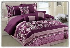 Purple Silver Jacquard Pintuck 7pc* KING QUEEN Comforter Set + Valance 3 Cushion