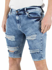 Sik Silk Men's Distressed Ripped Denim Shorts, Blue
