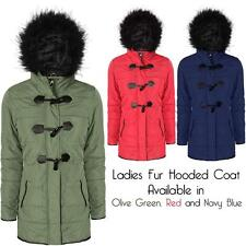 New Womens Ladies Warm Winter Fur Hooded Duffle Toggle Parka Jacket Coats Sizes