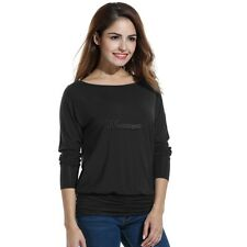 Women Casual Boat Neck Batwing Sleeve Solid Draped Blouse Dolman Top WT8801