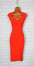 ~PAIGE~ Red Celeb Bodycon Keyhole Midi Choker Evening Party Dress 8 10 12 14