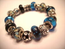 European Style Charm Bracelet Teal Blue Black Murano Glass Beads Charms Stones