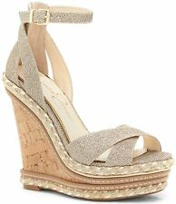 NIB Jessica Simpson Ahnika Platform Wedge Sandal in Gold Sparkle